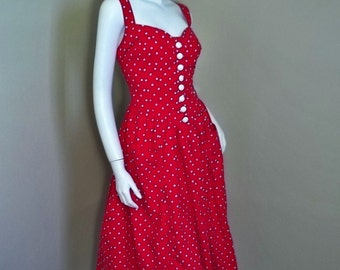 Vintage Rockabilly POLKA DOT Convertible Halter 80's 50's Style Smocked Dress