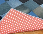 Baby Crib Quilt from Recycled Denim - Modern Rustic