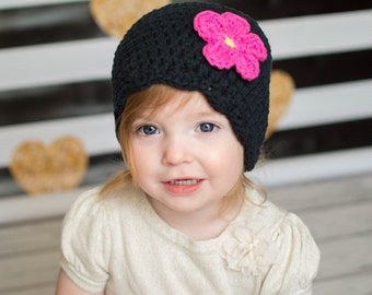 9 Sizes Black Hat Baby Hat Baby Girl Hat Toddler Hat Toddler Girl Hat Womens Hat 30 Flower Colors Baby Beanie Toddler Beanie Womens Beanie