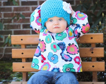 9 Sizes Bright Blue Hat Baby Hat Baby Girl Hat Toddler Hat Toddler Girl Hat Womens Hat 30 Flower Colors Baby Beanie Toddler Beanie Flapper