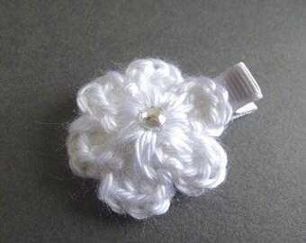 White Hair Clip Crochet Flower Hair Clip White Flower Clip White Clip White Clippie Baby Hair Clip Baby Girl Hair Clip Toddler Girl Simple