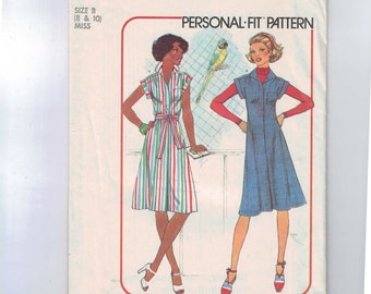 1970s Vintage Sewing Pattern Simplicity 7578 Misses Dress or Jumper with Yoke and Tie Belt Size 8 10 Breast 31 32 33 1976 70s  99
