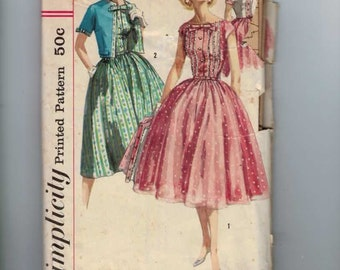 1960s Vintage Sewing Pattern Simplicity 1988 Misses Full Skirt Party Dress with Jacket Size 15 Bust 35 60s  99