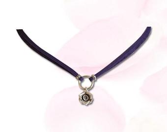 Purple BDSM Collar La Vie En Rose Submissive BDSM Collar bdsm Slave Collar Sterling Silver Rose Bud Purple Leather Cord  Collar BDSM Jewelry