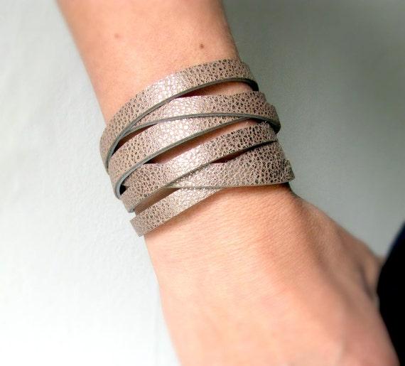 Leather wrap Bracelet Cuff Reversible red black grey metallic bronze