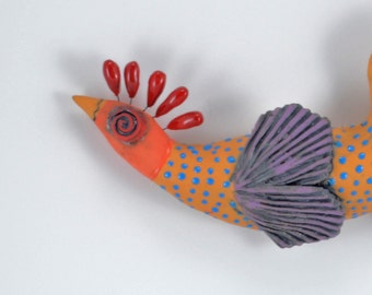 Bird of Paradise Ceramic Wall Sculpture Multi Color
