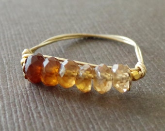 Rustic Shaded Hessonite Garnet Ring Birthstone Ring Stacking Ring Wire Wrapped Ring