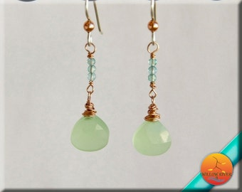 Women's Earrings, on Sterling Silver Ear Wire, Chalcedony Stone, Small and Light