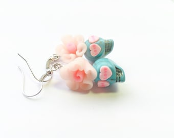 Pale Pink and Turquoise Love Day of the Dead Roses and Sugar Skull Earrings