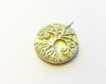 Pale Green Tree of Life Yggdrasil Handmade Polymer Clay Pendant