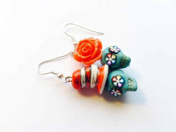 Sugar skull earrings dr seuss cat in a hat and his girl for Cat in the hat jewelry