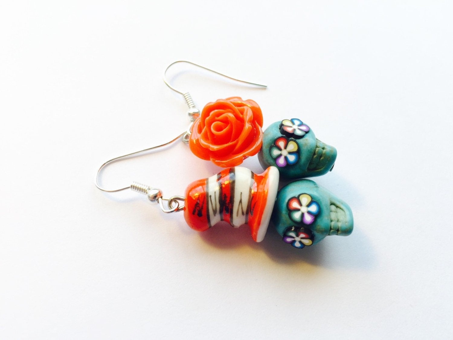 sugar skull earrings dr seuss cat in a hat and his