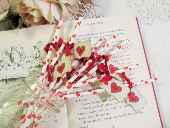 Alice Party Straws Drink Stir Straws with Red Sparkle Heart Tags - Choose Ribbon Colors - Set of 18 - Mad Tea Party