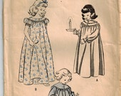 Vintage 40's Sewing Pattern, Girls NightGown, Size 12