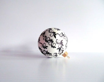 Hand Painted Glass ornament: Black and Pearly White elegant bauble Black and white