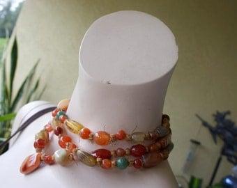 Vintage 60s Bohemian Hippie LOVE & PEACE Beads Gemstone Carnelian Jadeite Lapis Agate Heart Necklace
