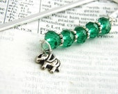 Elephant Bookmark with Emerald Green Beads Shepherd Hook Steel Bookmark Silver Color