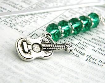 Guitar Bookmark with Emerald Green Beads Shepherd Hook Steel Bookmark Beaded Bookmark