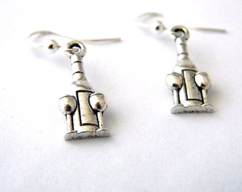 Wine Bottle Earrings Silver Color Dangle Earrings Wine Glass Earrings