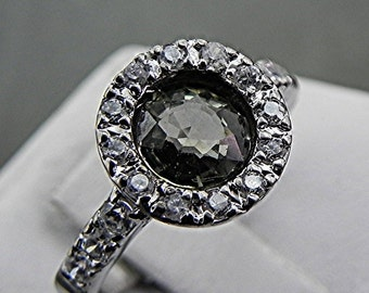 Light green Ceylon Sapphire 1.19 carats 6.25mm in 14K gold ring with .30 carats of diamonds 0421