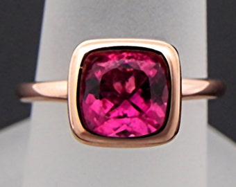 AAA Natural Red Rubellite Tourmaline Untreated Cushion Cut   7x7mm  1.45 Carats   in a 14K Rose gold Engagement ring. 2045