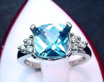 Cushion cut Blue Topaz White gold diamond 9x9mm 3.65 Carat (.20ct) Ring 0681 MMM