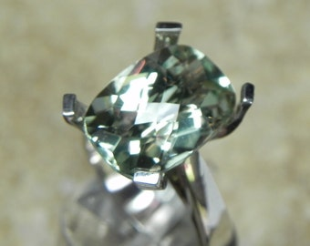 AAAA Green Amethyst (Prasiolite) Cushion Cut   14x10mm  6 Carats   Natural Gemstone in 14K white gold ring 1261