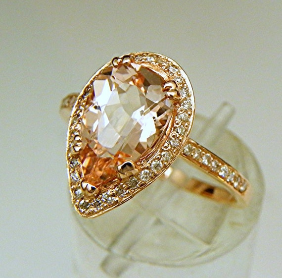 AAAA Peachy Pink Morganite Pear shaped 10x7mm  1.80 Carat in 14K  Rose gold ring w/ .32ct diamonds