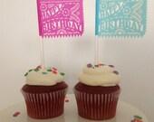 Cupcake toppers (1 dozen) Papel Picado - Fiesta Happy Birthday Tissue paper on lollipop sticks 3x2 inches