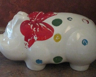 Vintage American Bisque Shawnee Hull Large Polka Dot Piggy Bank - Retro Decor - Collectable Bank
