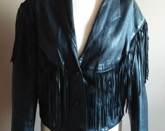 Black Leather FRINGE Motorcycle Jacket