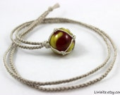 Antique Marble Hemp Wrapped Necklace