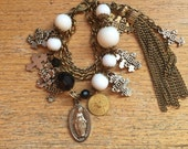 CHARM Bracelet // Southwestern Jewelry // Silver Crosses // Religious Medals // Tassel Bracelet // Boho Jewelry // Multi Strand Bracelet