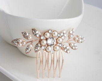 Bridal Comb Rose Gold Wedding Hair Comb Small Hair Comb Pearl Crystal Leaf Comb MACY