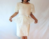Summer WHITE and Gold Handmade LACE Peplum Dress Flutter Sleeves Small or Xtra Small