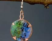 SINGLE Asymmetrical Earring with Faces and Torch Fired Enamels from Earring A Day Challenge 2015