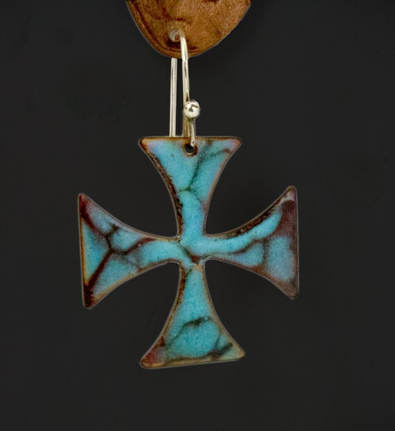 Turquoise equal arm cross with torch fired enamels