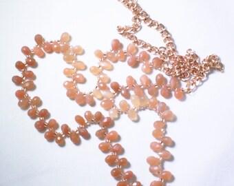 Peach Moonstone Briolette Rose Gold Statement Necklace Genuine Moonstone Gemstone June Birthstone GEM-N-165-PMS/rg