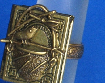 FREE SHIPPING Ring LOCKET Adjustable photo frame ring Bird nest ring Antique brass discreet adjustment ring