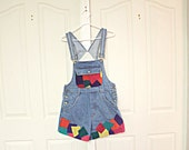 Color block denim vintage suede overalls. Deadstock. hipster. patchwork. short shorts. ONLY 4 PAIRS LEFT.