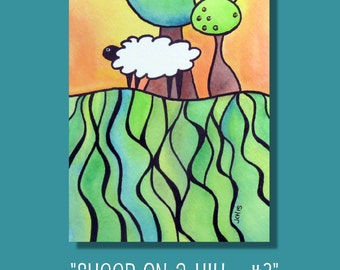 """Sheep On A Hill 3 Watercolor and Ink Landscape Painting Drawing  5"""" x 7""""  Wall Art"""