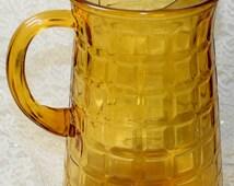 Glass Pitcher, Amber Brown, Waffle Pattern w/ Ice Lip, Spring Summer Serving Lemonade Tea Water, Vintage 1950s Home Decor Glassware PG257