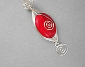 SALE Red Howlite and Herringbone Weave Silver Pendant item CP22