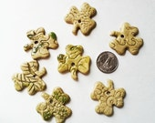 Lucky charms Shamrock and hearts tiny ceramic jewelry supply charm bead for DIY supply stoneware clay rustic earrings pendant