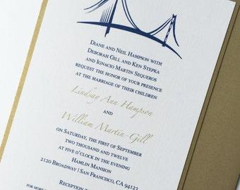 San Francisco, Golden Gate Bridge Wedding Invitation, Cityscape Wedding Invitations, Elegant, urban Invitations, Gold, Royal Blue -Deposit