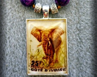 Beaded Cote d'Ivoire Ivory Coast Elephant Postage Stamp Pendant Necklace (One of a Kind!)