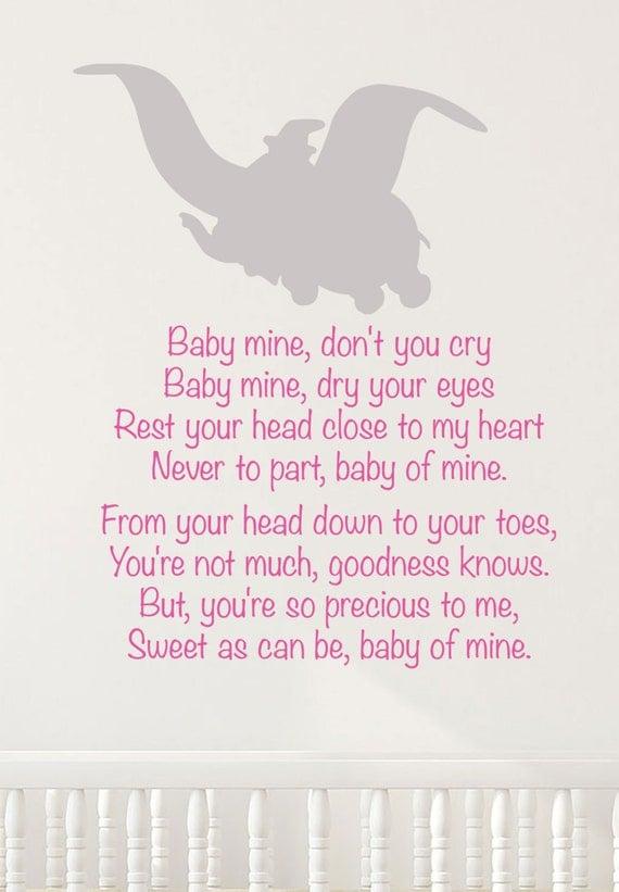 All disney nursery : Disney dumbo wall decal lullaby baby mine song nursery decor ...