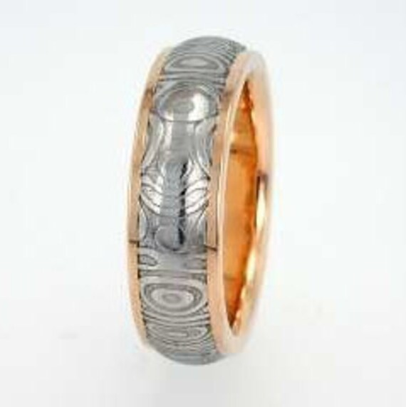 Damascus Wedding Band, 14K Yellow Gold Sleeve Ring