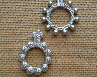 two vintage finger rosaries - vintage catholic silver religious jewelry