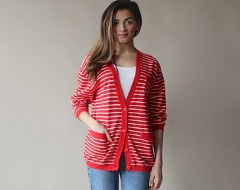 red and white striped cardigan / oversized jumper / 1980s / small-medium